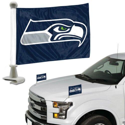 Seattle Seahawks Team Logo Ambassador Car Flag Set NFL