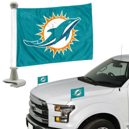 Miami Dolphins Team Logo Ambassador Car Flag Set NFL