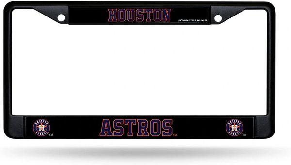 Houston Astros Black Chrome Metal License Plate Frame MLB