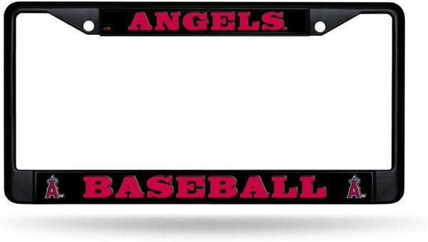 Los Angeles Angels Black Chrome Metal License Plate Frame MLB