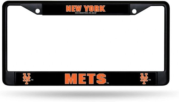 New York Mets Black Chrome Metal License Plate Frame MLB
