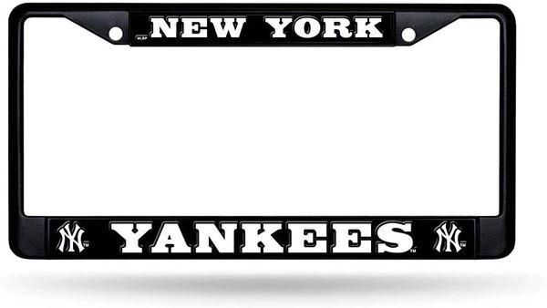 New York Yankees Black Chrome Metal License Plate Frame MLB