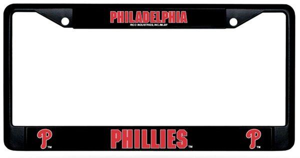 Philadelphia Phillies Black Chrome Metal License Plate Frame MLB