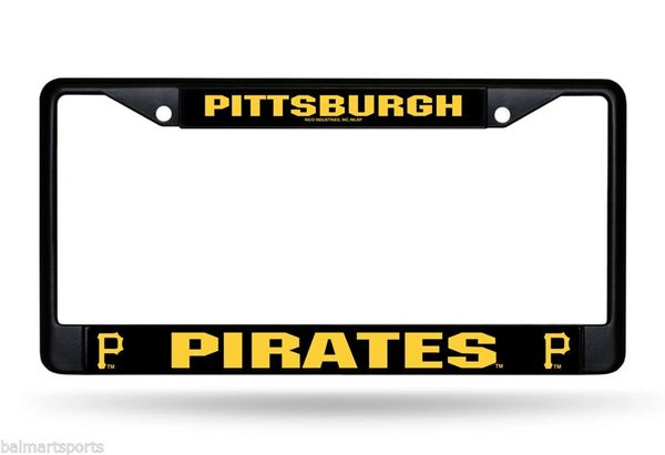 Pittsburgh Pirates Black Chrome Metal License Plate Frame MLB