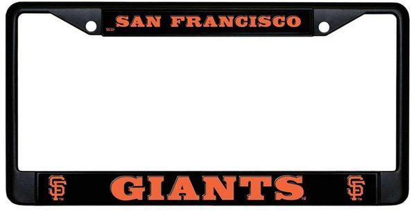 San Francisco Giants Black Chrome Metal License Plate Frame MLB