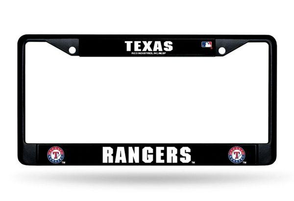 Texas Rangers Black Chrome Metal License Plate Frame MLB