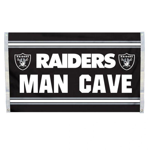 "Oakland Raiders ""Man Cave"" 3' x 5' Banner Flag NFL Licensed"