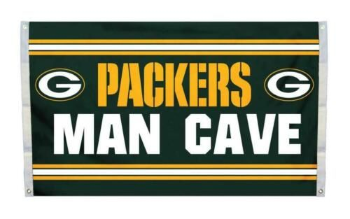 """Green Bay Packers """"Man Cave"""" 3' x 5' Banner Flag NFL Licensed"""