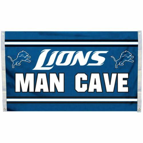 """Detroit Lions """"Man Cave"""" 3' x 5' Banner Flag NFL Licensed"""
