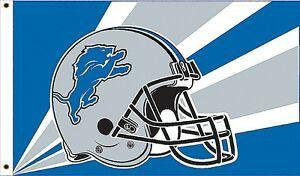 Detroit Lions Team Helmet Banner Flag 3'x5' NFL Licensed