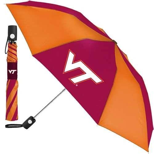 """Virginia Tech Hokies Automatic Push Button Umbrella 42"""" NCAA"""