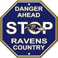"""Baltimore Ravens Acrylic Wall Stop Sign 12"""" x 12"""" NFL"""