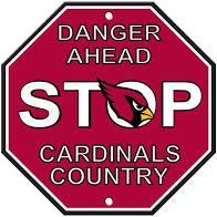 """Arizona Cardinals Acrylic Wall Stop Sign 12"""" x 12"""" NFL"""