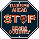 """Chicago Bears Acrylic Wall Stop Sign 12"""" x 12"""" NFL"""
