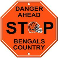 "Cincinnati Bengals Acrylic Wall Stop Sign 12"" x 12"" NFL"