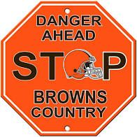 """Cleveland Browns Acrylic Wall Stop Sign 12"""" x 12"""" NFL"""