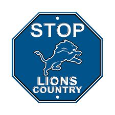 """Detroit Lions Acrylic Wall Stop Sign 12"""" x 12"""" NFL"""