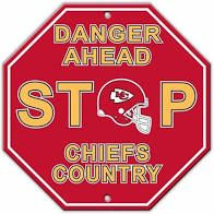 "Kansas City Chiefs Acrylic Wall Stop Sign 12"" x 12"" NFL"
