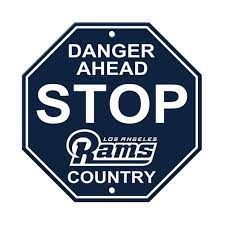 """Los Angeles Rams Acrylic Wall Stop Sign 12"""" x 12"""" NFL"""