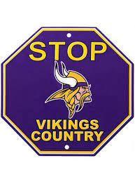 "Minnesota Vikings Acrylic Wall Stop Sign 12"" x 12"" NFL"