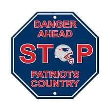"""New England Patriots Acrylic Wall Stop Sign 12"""" x 12"""" NFL"""
