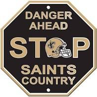 """New Orleans Saints Acrylic Wall Stop Sign 12"""" x 12"""" NFL"""