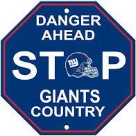 "New York Giants Acrylic Wall Stop Sign 12"" x 12"" NFL"