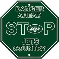 """New York Jets Acrylic Wall Stop Sign 12"""" x 12"""" NFL"""