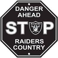 "Las Vegas/Oakland Raiders Acrylic Wall Stop Sign 12"" x 12"" NFL"