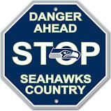 """Seattle Seahawks Acrylic Wall Stop Sign 12"""" x 12"""" NFL"""