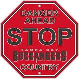 """Tampa Bay Buccaneers Acrylic Wall Stop Sign 12"""" x 12"""" NFL"""