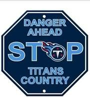 "Tennessee Titans Acrylic Wall Stop Sign 12"" x 12"" NFL"