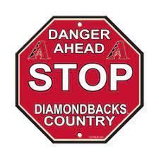 "Arizona Diamond Backs Acrylic Wall Stop Sign 12"" x 12"" MLB Licensed"