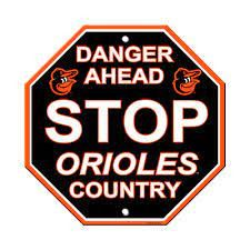 """Baltimore Orioles Acrylic Wall Stop Sign 12"""" x 12"""" MLB Licensed"""