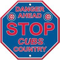 """Chicago Cubs Acrylic Wall Stop Sign 12"""" x 12"""" MLB Licensed"""