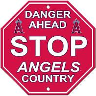 """Los Angeles Angels Acrylic Wall Stop Sign 12"""" x 12"""" MLB Licensed"""
