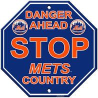 """New York Mets Acrylic Wall Stop Sign 12"""" x 12"""" MLB Licensed"""