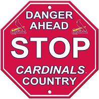 """St. Louis Cardinals Acrylic Wall Stop Sign 12"""" x 12"""" MLB Licensed"""