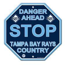 """Tampa Bay Rays Acrylic Wall Stop Sign 12"""" x 12"""" MLB Licensed"""