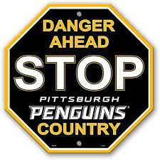 "Pittsburgh Penguins Acrylic Wall Stop Sign 12"" x 12"" NHL Licensed"