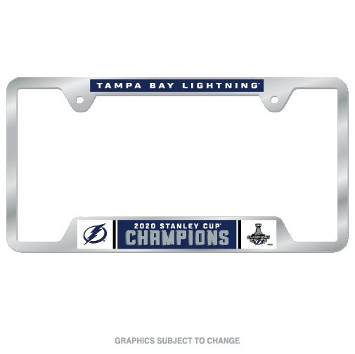Tampa Bay Lightning Stanley Cup Champions Chrome Metal License Plate Frame NHL
