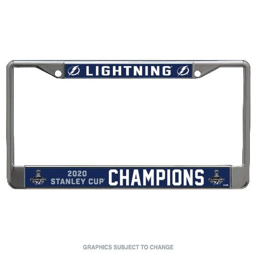 Tampa Bay Lightning Stanley Cup Champions Laser Inlaid Acrylic Chrome License Plate Frame