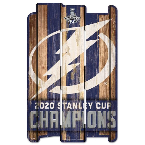 """Tampa Bay Lightning 2020 Stanley Cup Champions """"Wood Fence Like"""" Wall Sign"""