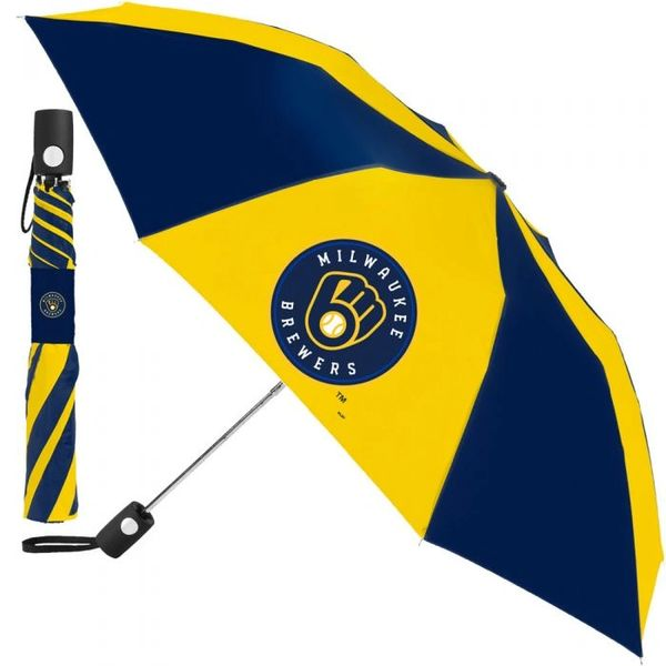 "Milwaukee Brewers Automatic Push Button Umbrella 42"" MLB Licensed"