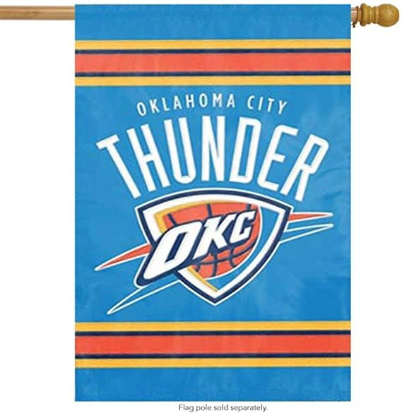 Oklahoma City Thunder 2 Sided Embroidered Vertical House - Wall Flag