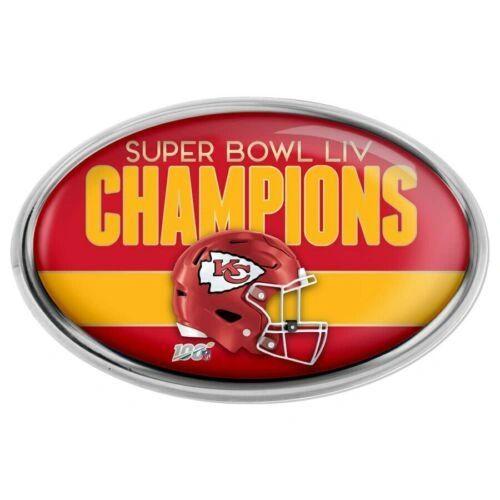 Kansas City Chiefs Super Bowl LIV Champions Chrome Metal Emblem NFL Licensed