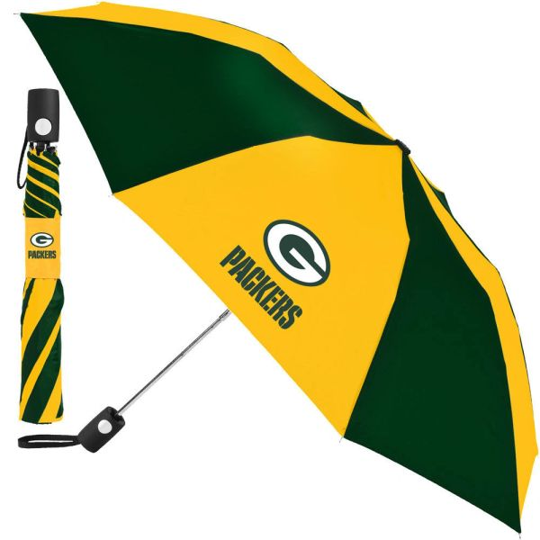 """Green Bay Packers Umbrella 42"""" Automatic Push Button NFL Licensed"""