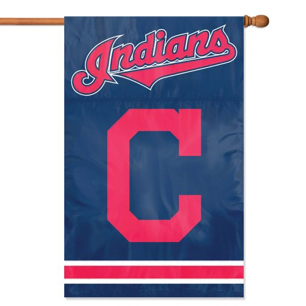 """Cleveland Indians 2 Sided Embroidered Vertical House - Wall Flag 28"""" x 44"""" MLB"""