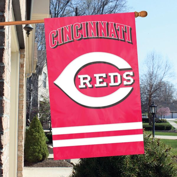 """Cincinnati Reds 2 Sided Embroidered Vertical House - Wall Flag 28"""" x 44"""" MLB"""