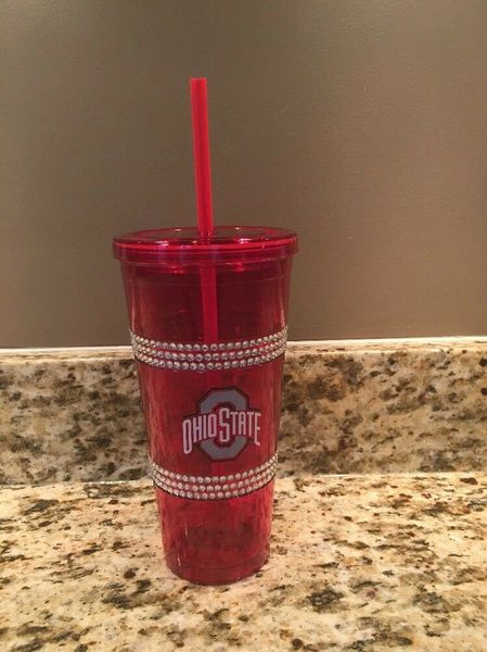 Ohio State Buckeyes Insulated Double Bling Tumbler Cup w/straw NCAA